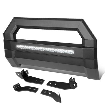 06-18 Toyota Tacoma Square Tube Lightweight Bull Bar w/LED Light+License Plate Relocation - Black