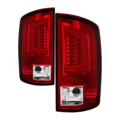 07-08 Dodge RAM 1500 / 07-09 RAM 2500 3500 LED Tube Tail Lights - Red Clear