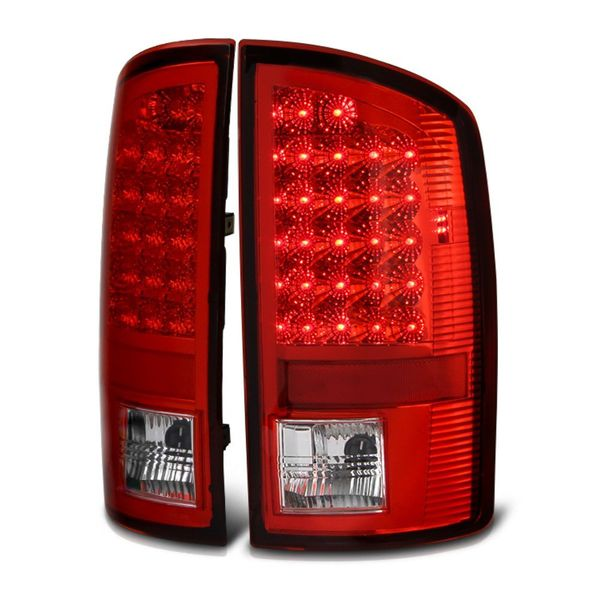 07-08 Dodge Ram 1500 2500 3500 Pickup Truck Bright LED Tail Lights - Red Clear By Spyder