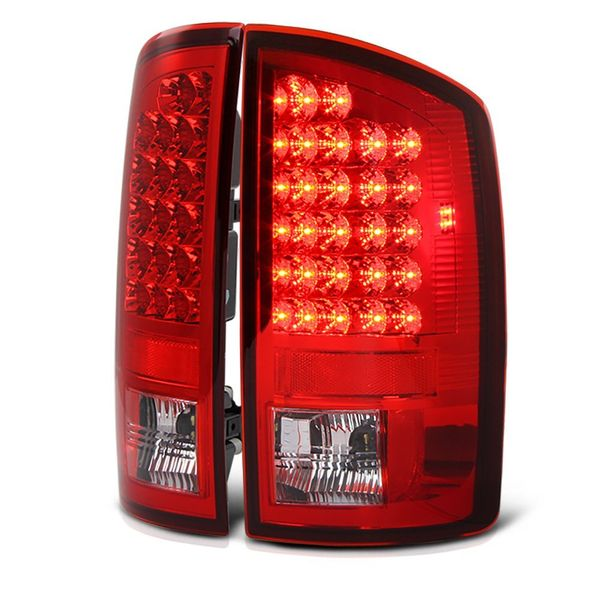 07-08 Dodge Ram Pickup Truck Euro LED Tail Lights - Red / Clear ALT-YD-DRAM06-LED-RC By Spyder