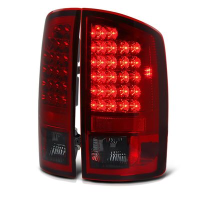 07-08 Dodge Ram Pickup Truck Euro LED Tail Lights - Red / Smoked ALT-YD-DRAM06-LED-RS By Spyder