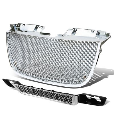 07-09 GMC Yukon Diamond Mesh Front Hood Upper + Lower Grill - Chrome