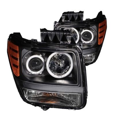 07-09 Dodge Nitro CCFL Angel Eye Halo Projector Headlights With LED Turn Signal - Black