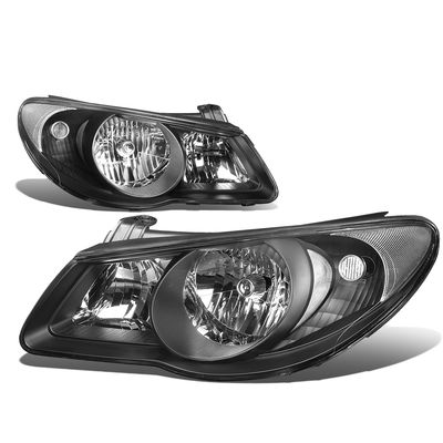 07-09 Hyundai Elantra  Headlight Assembly (Driver & Passenger Side) - Black Clear