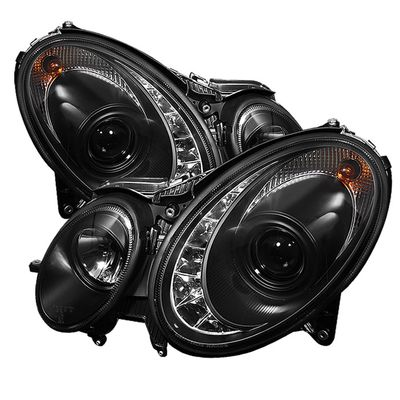 07-09 Mercedes Benz E-Class Euro Style DRL LED Projector Headlights - Black