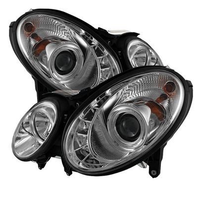 07-09 Mercedes Benz E-Class Euro Style DRL LED Projector Headlights - Chrome