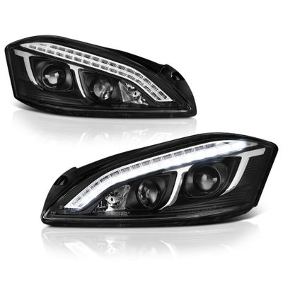 07-09 Mercedes Benz W221 S Class [Xenon/HID Model Only] LED DRL  Projector Headlights - Black
