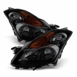 07-09 Nissan Altima 4DR [Halogen Model] Crystal Replacement Headlights - Black Smoked
