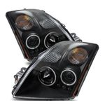 07-09 Nissan Sentra CCFL Angel Eye Halo Projector Headlights - Black
