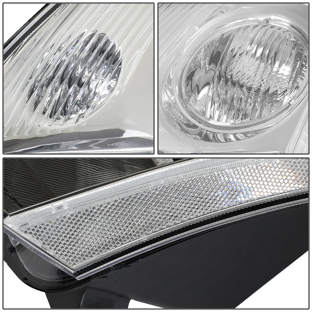 Headlights Driver and Passenger Side Replacement for 2007-2009 Nissan Sentra 4-Door Models Headlight Assembly Replacement with Chrome Housing,