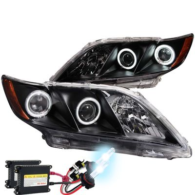 07-09 Toyota Camry Dual CCFL Halo Projector Headlights - Black + HID Kit