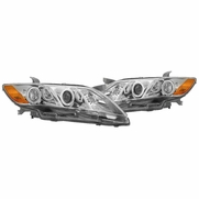 07-09 Toyota Camry Dual LED Halo Projector Headlights - Chrome