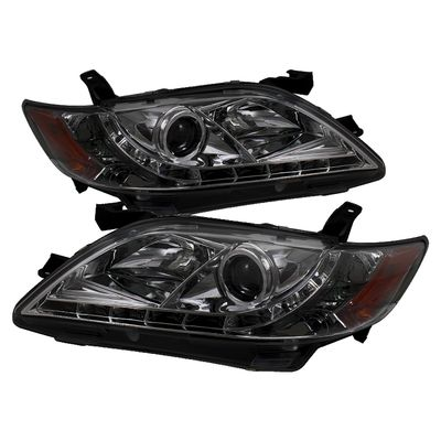 07-09 Toyota Camry LED DRL Projector Headlights - Smoked
