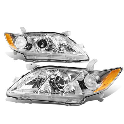 07-09 Toyota Camry [Non Hybrid Model] OE-Style Replacement Headlights  - Chrome / Amber