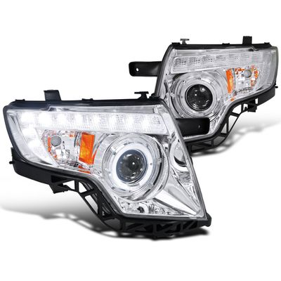 07-10 Ford Edge Angel Eye Halo & LED DRL Strip Projector Headlights - Chrome