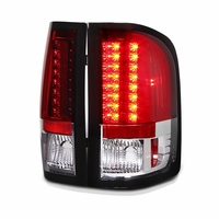 2007-2013 Chevy Silverado Pickup LED Tail Lights - Red / Clear ALT-YD-CS07-LED-RC By Spyder