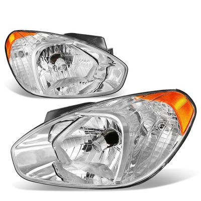 07-11 Hyundai Accent Headlight Assembly (Driver & Passenger Side) - Chrome Amber