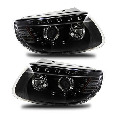 07-11 Hyundai Santa Fe LED DRL Projector Headlights - Black
