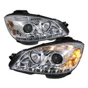 07-11 M-Benz W204 C-Class LED DRL Projector Headlights - Chrome
