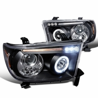 07-13 Toyota Tundra / Sequoia Angel Eye Halo & LED Projector Headlights - Black