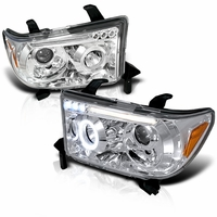 07-13 Toyota Tundra / Sequoia Angel Eye Halo & LED Projector Headlights - Chrome