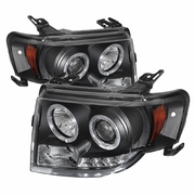 08-12 Ford Escape Angel Eye Halo & LED Strip Projector Headlights - Black
