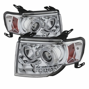 08-12 Ford Escape Angel Eye Halo & LED Strip Projector Headlights - Chrome