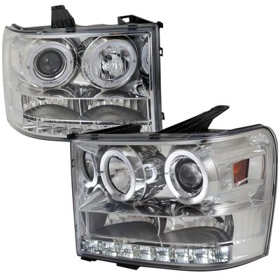 07-12 GMC Sierra 1500 2500 HD Angel Eye Halo LED Projector Headlights - Chrome