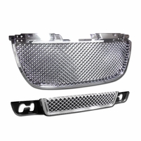 07-12 GMC Yukon GMT900 Bolt-On Upper + Lower Bumper Mesh Grill - Chrome