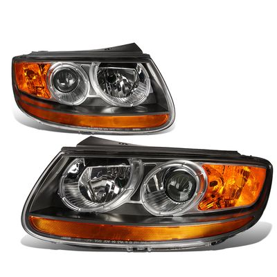 07-12 Hyundai Santa Fe  Headlight Assembly (Driver & Passenger Side) - Black Amber
