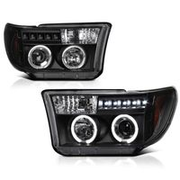 07-13 Toyota Tundra Angel Eye Halo / LED Projector Headlights - Black