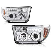 07-13 Toyota Tundra Angel Eye Halo / LED Projector Headlights - Chrome