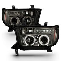 07-13 Toyota Tundra Angel Eye Halo / LED Projector Headlights - Smoked