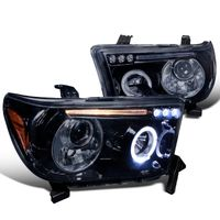 07-13 Toyota Tundra / Sequoia Angel Eye Halo & LED Projector Headlights - Gloss Black