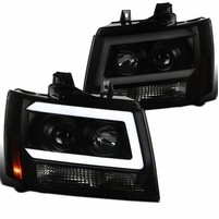 07-13 Chevy Avalanche Suburban Tahoe Black / Smoke LED DRL Bar Projector Headlights