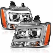 07-13 Chevy Avalanche / Suburban / Tahoe LED DRL Projector Headlights - Chrome