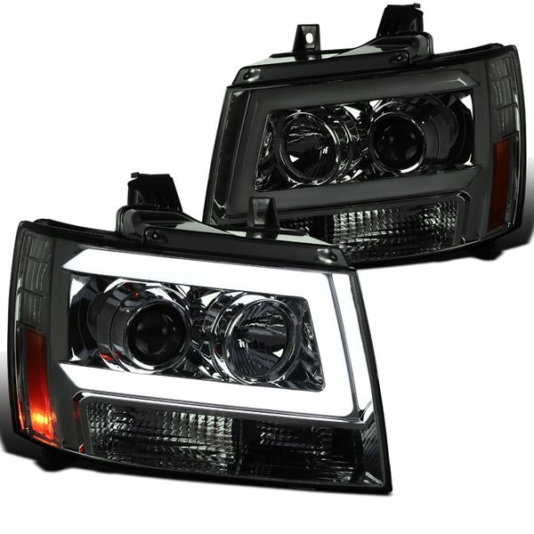 07-13 Chevy Avalanche Suburban Tahoe Smoke Tinted LED DRL Bar Projector Headlights