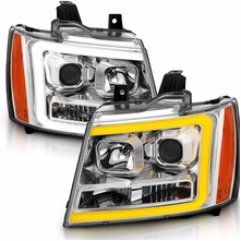 07-13 Chevy Avalanche / Suburban / Tahoe Switchback LED DRL Projector Headlights - Chrome