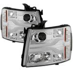 07-13 Chevy Silverado / 07-14 2500-3500 LED DRL Tube Projector Headlights - Chrome