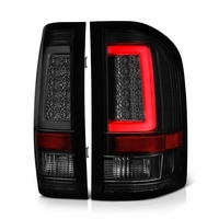 07-13 Chevy Silverado 1500 / 07-14 2500 3500 LED Tube Tail Lights - Black Smoked