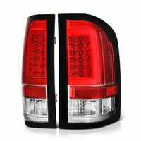 07-13 Chevy Silverado 1500 / 07-14 2500 3500 LED Tube Tail Lights - Red Clear