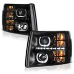 07-13 Chevy Silverado 1500 2500 3500 HD SMD LED Halo Projector Headlights - Black
