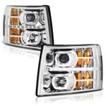 07-13 Chevy Silverado 1500 2500 3500 HD SMD LED Halo Projector Headlights - Chrome