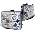07-14 Chevy Silverado Angel Eye Halo & LED Strip Projector Headlights - Chrome
