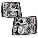 2007-2014 Chevy Silverado Dual Angel Eye Halo & LED Projector Headlights - Chrome