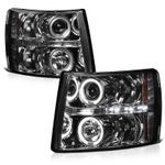 2007-2014 Chevy Silverado Dual Angel Eye Halo & LED Projector Headlights - Smoked