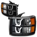 07-13 Chevy Silverado Dual LED U-Halo Projector Headlight - Black / Amber