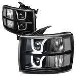 07-13 Chevy Silverado Dual LED U-Halo Projector Headlight - Black / Clear