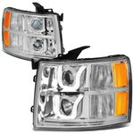 07-13 Chevy Silverado Dual LED U-Halo Projector Headlight - Chrome / Amber