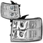 07-13 Chevy Silverado Dual LED U-Halo Projector Headlight - Chrome / Clear